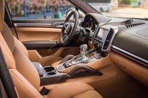 Interior of a Porsche car