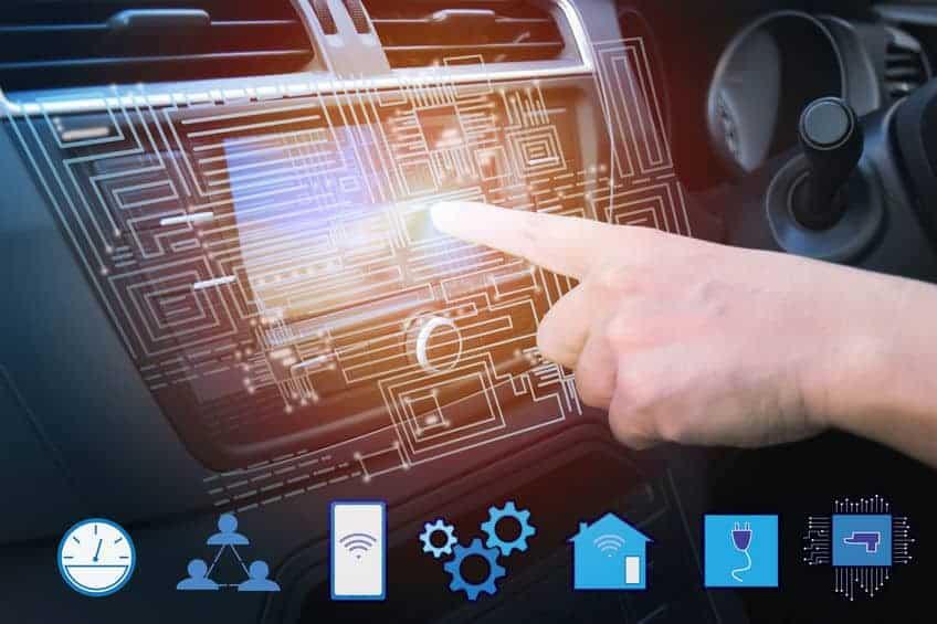 Vehicle touchscreen navigation showing menu icons