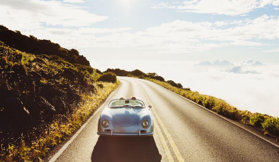 Porsche 356 cruising on the highway 2